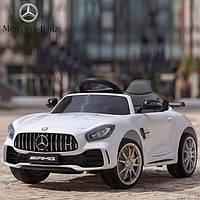 Детский электромобиль Mercedes_AMG GT R, ЛИЦЕНЗИЯ, Кожа, EVA-резина, Амортизаторы, дитячий електромобіль белый