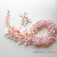 Колье с натуральными камнями и розовыми крокусами, фото 1