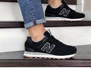 Мужские кроссовки New Balance 574 замшевые,черные, фото 2