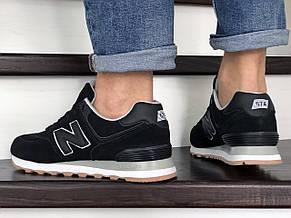 Мужские кроссовки New Balance 574 замшевые,черные, фото 3