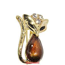 18403 брошь KATTi металл золото Лисичка цветная принт со стразами, фото 2