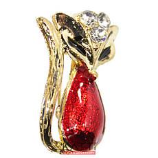 18403 брошь KATTi металл золото Лисичка цветная принт со стразами, фото 3