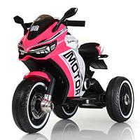 Детский электромобиль Мотоцикл M 4053 L-8, кожа, свет колёс, детский электромобиль