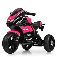Детский электромобиль Мотоцикл M 4135 L-8, Кожа Свет колёс, розовый