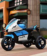 Детский электромобиль Мотоцикл M 4135 L-1-4, Кожаное сиденье, Свет колес, бело-синий