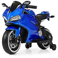 Детский электромобиль Мотоцикл M 4104 ELS-4, EVA колеса, LED подсветка, синий лак