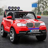 Детский электромобиль Джип BMW_4WD, 2-х местный, Кожа, EVA-резина, Амортизаторы, красный