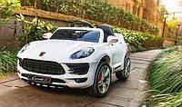 Детский электромобиль Джип M 3178 EBLR-1, Porsche Macan, EVA-колеса, Кожаное сиденье, белый