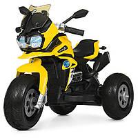 Детский мотоцикл M 4117 EL-6, кожаное сиденье, EVA колёса, дитячий електромобіль, жёлтый
