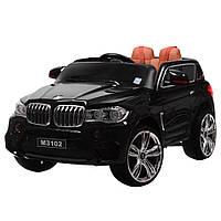 Детский электромобиль Джип M 3102 (MP4) EBLR-2, BMW X5, EVА колеса, Кожаное сиденье, черный