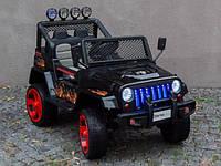 Детский электромобиль Джип M 3237 EBLR-2-3, Jeep Wrangler, 4 мотора, Кожа, EVA резина, черно-красный