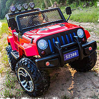 Детский электромобиль Джип M 3237 EBLR-3, Jeep Wrangler, 4 мотора, Кожа, EVA резина, Амортизаторы, красный