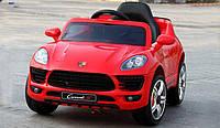 Детский электромобиль Джип M 3178 EBLR-3, Porsche Macan, EVA-колеса, Кожаное сиденье, красный