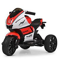 Детский электромобиль Мотоцикл M 4135 EL-1-3, колеса EVA, музыка, свет, кожаное сиденье, красно-белый