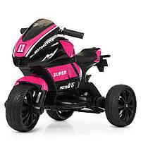 Детский электромобиль Мотоцикл M 4135 EL-8, колеса EVA, музыка, свет, кожаное сиденье, розовый