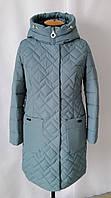 Удлиненная куртка женская демисезонная большого размера  50-60 волна
