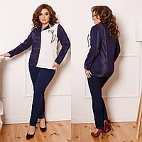ЖІночий брючний костюм люрексною блузою та аплікацією, 3 кольори .Р-ри 42-58, фото 1