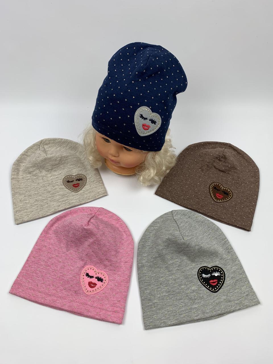 Детские польские демисезонные трикотажные шапки для девочек оптом, р.42-44 Fido (f767)