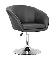 Крісло перукарське для клієнтів Мурат екошкіра, хромоване, чорне, диск