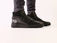 Мужские зимние черные кожаные ботинки