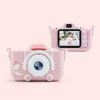 Детский цифровой фотоаппарат 2 камеры Children's fun Camera 20MP Full HD  Котик (Розовый) камера для селфи