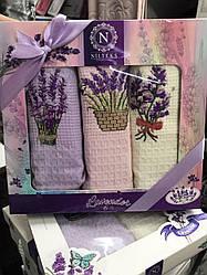 Набор кухонных полотенец Nilteks вафельные в подарочной коробке 40*60 3 шт с вышивкой Лаванда.
