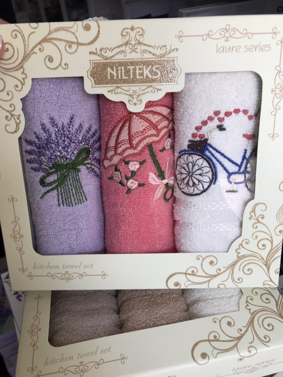 Набор кухонных полотенец Nilteks махровые в подарочной коробке 30*50 3 шт с вышивкой Прованс.