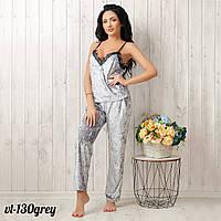 Пижама домашняя женская велюр: штаны и маечка New Fashion VL-130grey
