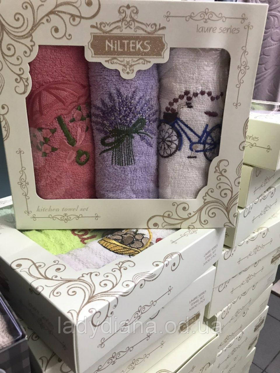 Набір кухонних рушників Nilteks махрові у подарунковій коробці 30*50 3 шт з вишивкою Прованс.