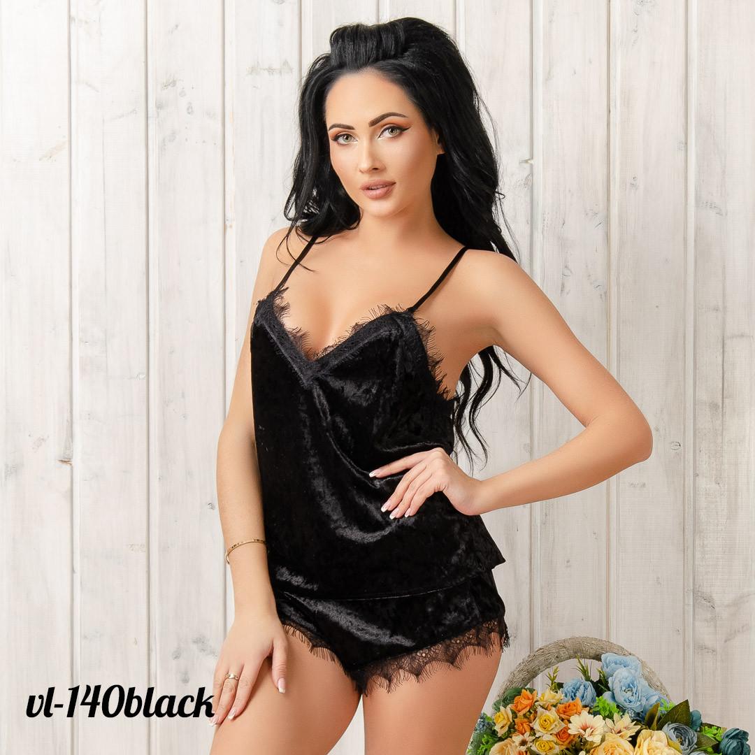 Велюровая пижама женская: шорты и маечка New Fashion VL-140black | 1 шт.