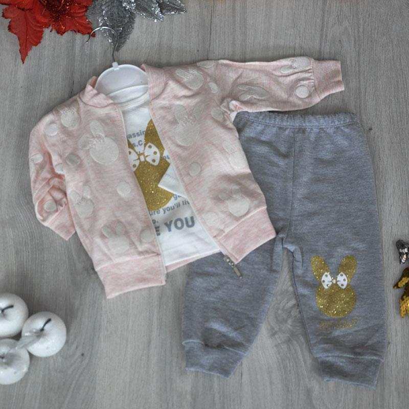 Детский трикотажный костюм для девочек ,размер:6-9-12-18 мес  (4 ед в уп)