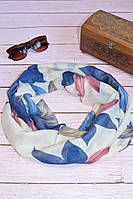 Воздушный шарф снуд в цветы сине-бежевый