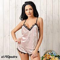 Велюровая пижама женская: майка и шорты New Fashion VL-140pudra