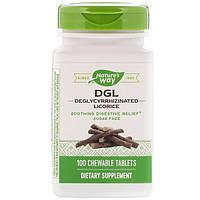 Nature's Way, DGL, 3:1 глицирризинат солодки, 100 жевательных таблеток
