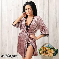 Нежный халат женский велюровый с кружевом New Fashion VL-150d.pink