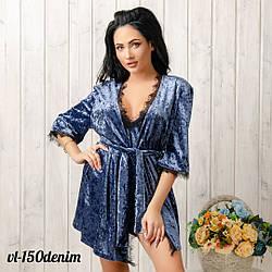 Халат женский велюровый кружевной New Fashion VL-150denim