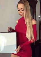 Платье с вырезами на плечах обтягивающее мини 4 цвета