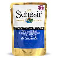 Schesir Tuna Seabass натуральные консервы для кошек тунец с морским окунем в желе