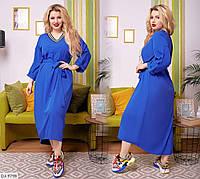 Легкое платье из софта с декоративной резинкой,размеры  50-52, 54-56, 58-62,арт 221