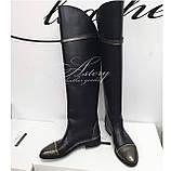 Женские черные кожаные сапоги с молнией сзади и вставками питона, фото 5