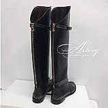 Женские черные кожаные сапоги с молнией сзади и вставками питона, фото 4