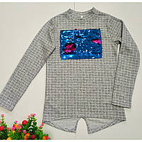 Детская туника-кофта для девочки осенняя с паетками размеры 134, 140, 146