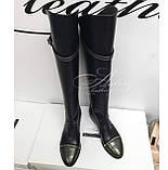 Женские черные кожаные сапоги с молнией сзади и вставками питона, фото 3