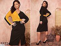 Женское платье со вставками из цветной ткани под пояс,размеры 48-50, 52-54, 56-58, 60-62,арт 137