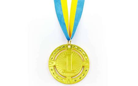 Медаль спортивная с лентой RAY d-6,5см (металл, 1-золото,2-серебро,3-бронза d-6,5см, 38g) C-6409 Золотой PZ-C-6401_1, фото 2