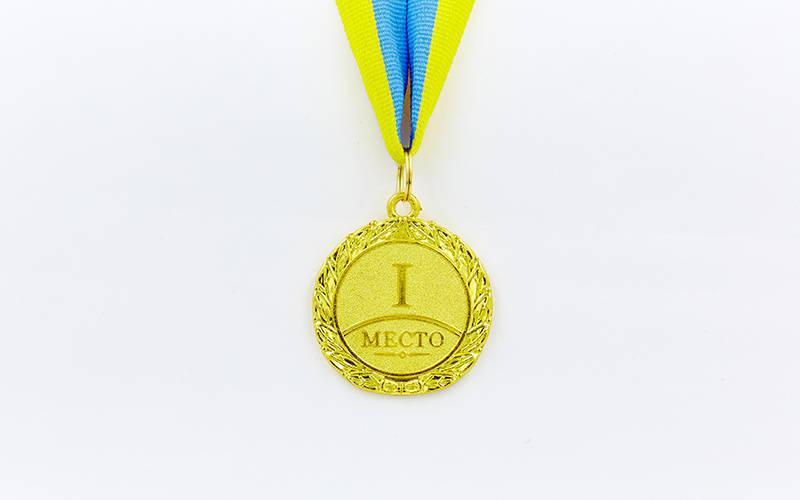 Медаль спортивная с лентой Star d-4,5см (металл, d-4,5см, 20g золото, серебро, бронза) Золотой PZ-C-2940_1