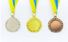 Медаль спортивная с лентой Star d-4,5см (металл, d-4,5см, 20g золото, серебро, бронза) Золотой PZ-C-2940_1, фото 3