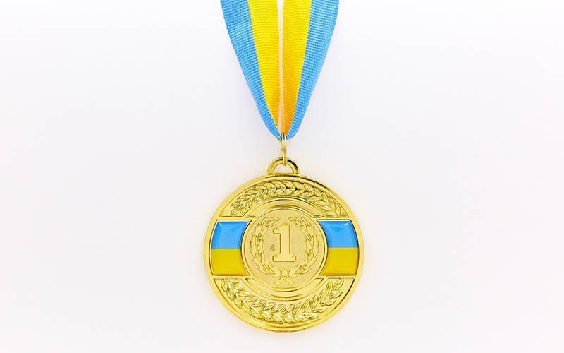Медаль спортивная с лентой UKRAINE d-6,5см с укр. символикой (металл, 38g, 1-золото, 2-серебро, 3-бронза) Золотой PZ-C-6864_1