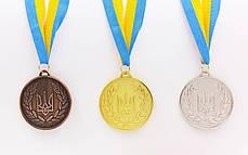 Медаль спортивная с лентой UKRAINE d-6,5см с укр. символикой (металл, 38g, 1-золото, 2-серебро, 3-бронза) Золотой PZ-C-6864_1, фото 3