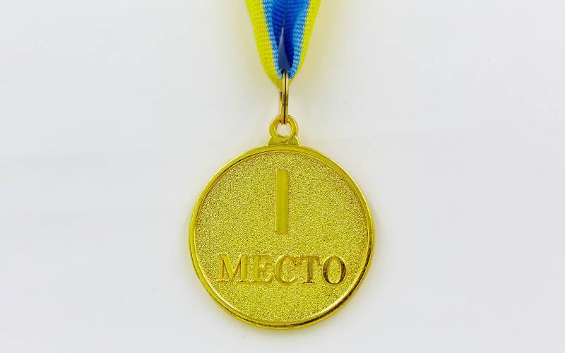 Медаль спортивная с лентой WORTH d-4,5см (металл, d-4,5см, 20g золото, серебро, бронза) Золотой PZ-C-4520_1